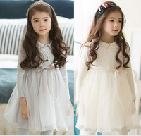 South Korea S Autumn Pearl Princess Girls Collar Long Sleeved Lace Bubble Dress Kids Clothing White