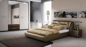 Large king size soft bed PU+PVC leather soft bed C361