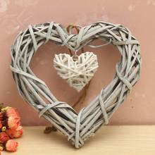 Wicker Rattan Hanging Heart Wreath