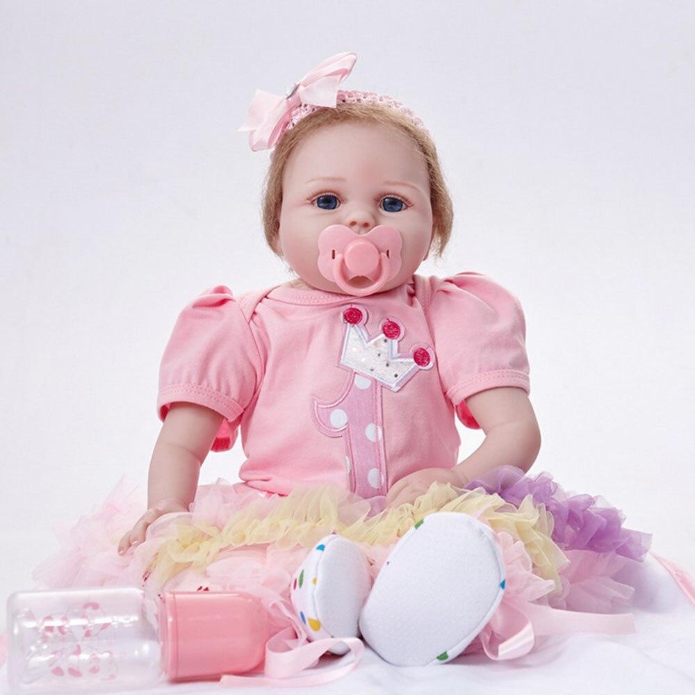 55cm Soft Silicone Newborn Baby Doll Realistic Reborn Princess Girl Doll for Kids Toy Birthday Christmas Gift lovely christmas reborn doll silicone 16inch newborn baby doll realistic toddler doll kids birthday gift