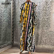 High Quality New 2019 Autumn Long Dress Women O-Neck Charming Flower Print Sleeve Vestidos Special Occasion Ladies