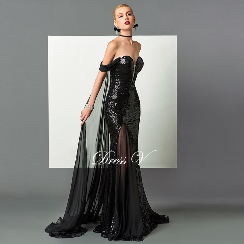 447429e857df1 Dressv black mermaid long evening dress watteau train sexy off the shoulder sequins  formal party dress open back evening dresses