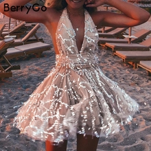 BerryGo Sexy deep v neck sequined mesh women playsuit elegant Backless lining ladies short jumpsuit High