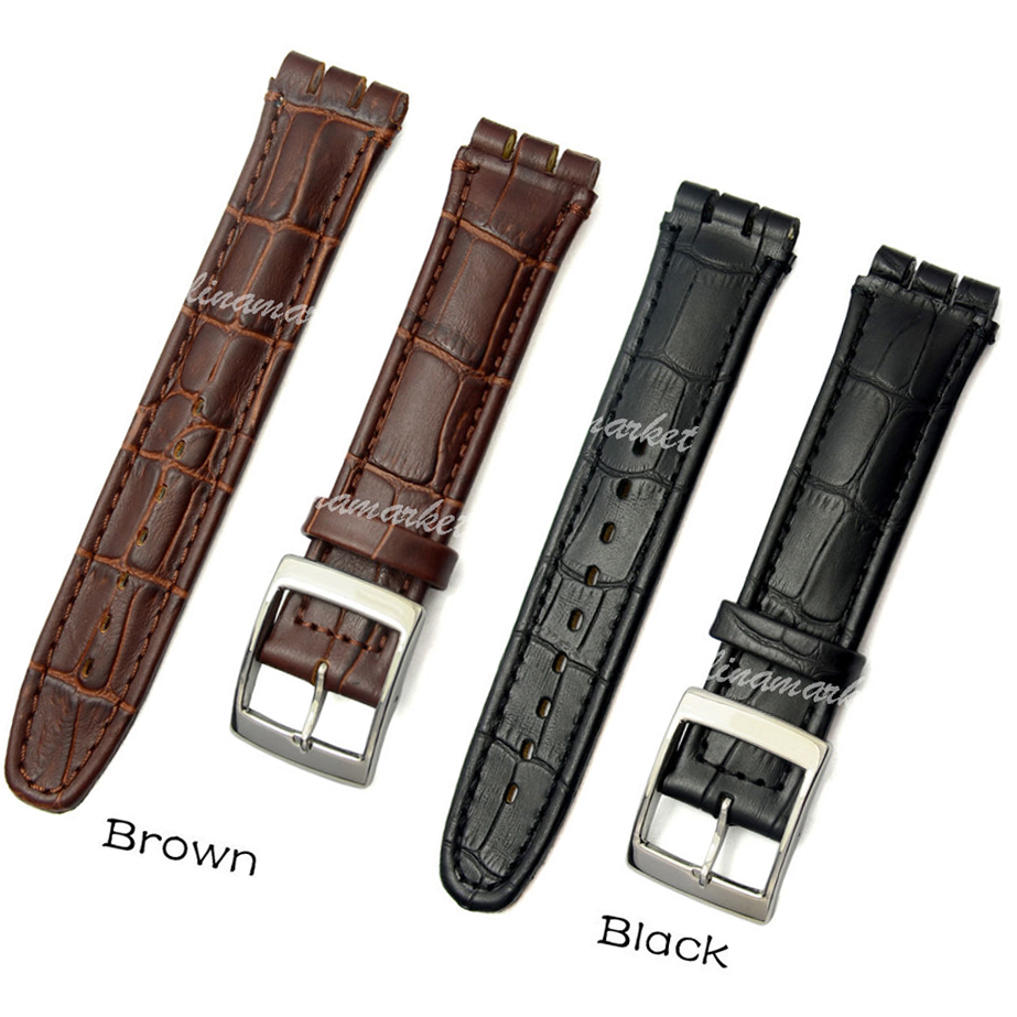 100% Genuine Leather Watchbands Black Brown Watch Bands Strap Mens Belt Metal Buckle Relojes Hombre 2016 Digital-Watch SWA101