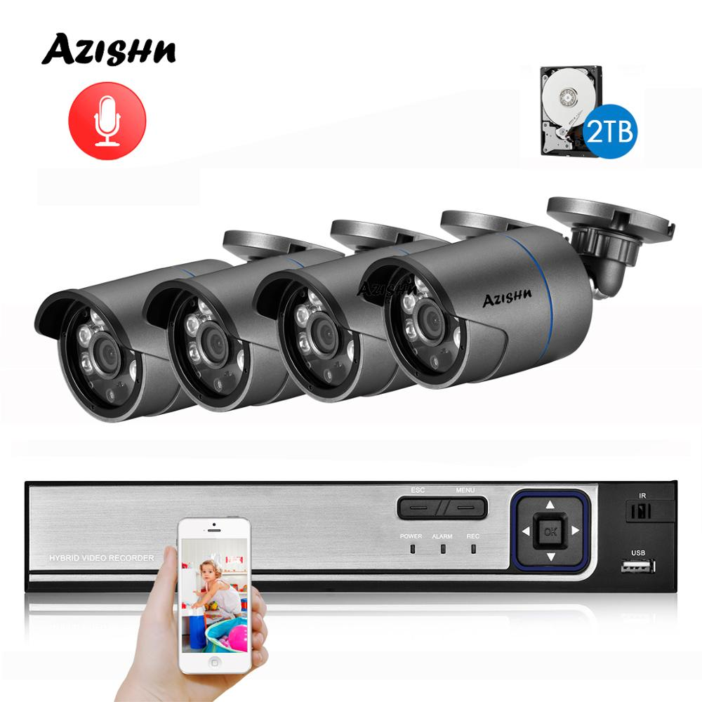AZISHN H.265 5MP POE NVR CCTV Sicherheit System 5.0MP Audio Record IP Kamera metall 6IR P2P Onvif Outdoor Video Überwachung kit