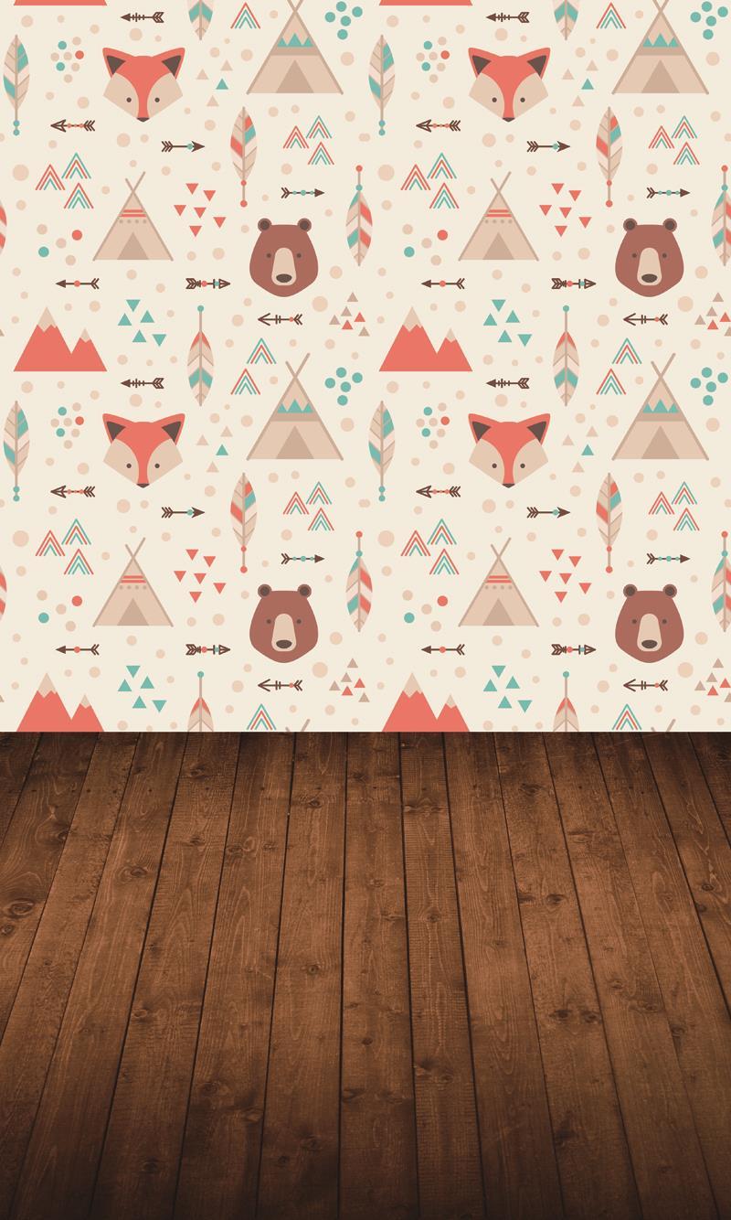 Spring Photography Backdrop Cartoon Fox And Bear Darkj Brown Floor XT 5119