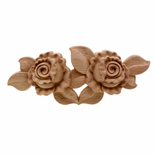 Marco de aplicación VZLX Esquina de madera tallada Onlay muebles de decoración sin pintar Vintage accesorios para decoración de boda figurita