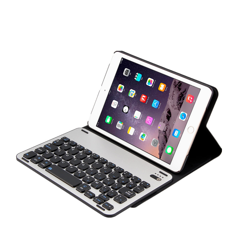 For iPad Mini 1 2 3 Aluminum Bluetooth Wireless Keyboard Case Cover Foldable Stand Holder Ultra Thin Smart Tablet Cover Bag Capa wireless removable bluetooth keyboard case cover touchpad for lenovo miix 2 3 300 10 1 thinkpad tablet 1 2 10 ideapad miix