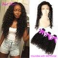 Малайзийский Странный Вьющиеся Волосы Девственницы С Закрытием Предварительно Сорвал 360 Кружева Фронтальной С Bundle Малайзии странный вьющиеся волосы С Фронтальной