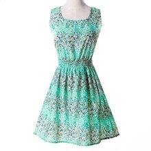 S to XXL women's summer Brief A line empire chiffon sleeveless floral Mini dress vestiti Clothing Whole sale