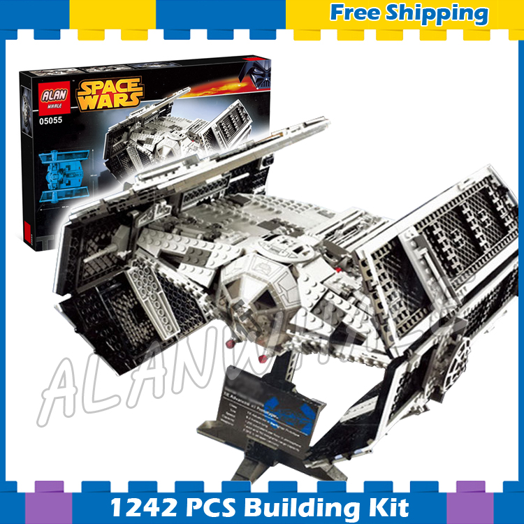1242pcs Space Wars The Rogue One USC Vader's TIE Advanced Fighter 05055 Model Building Blocks Gifts Sets Compatible With Lego dhl lepin 05055 star series military war the rogue one usc vader tie advanced fighter compatible 10175 building bricks block toy