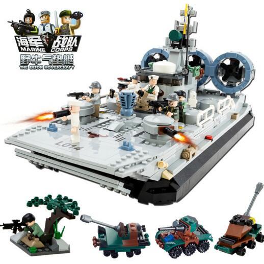 Children's intelligence education building block toy compatible Legoes navy destroyer hovercraft assembly model children blocks