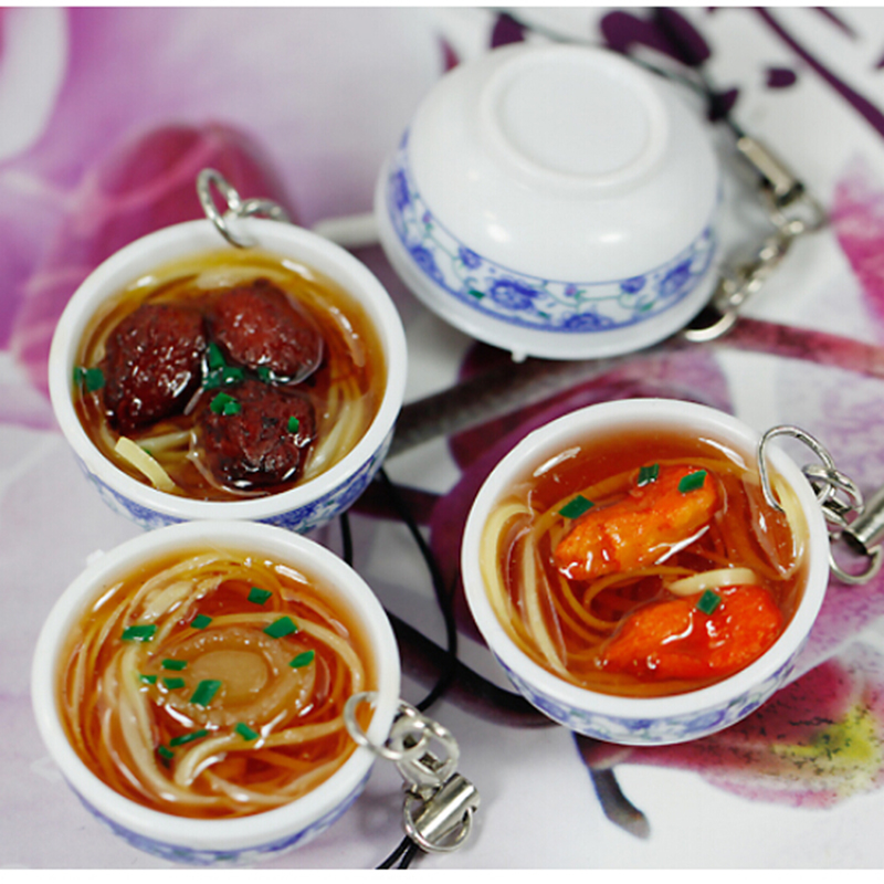 1Pcs Chinese Blue And White Porcelain Food Bowl Mini Bag Pendant Simulation Food Key Chains Noodle Creative Keychain 4.2 Cm*2 Cm