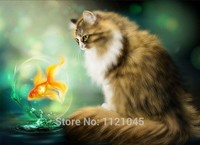 DIY Diamond Painting Cat And Fish 3D Diamond Embroidery Mosaic Crafts Home Decor Square Drill Rhinestone