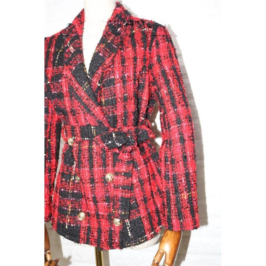 Double Tweed Manteau Boutonnage Femmes Nouvelles Mode En Laine Boutons Veste À Plaid Lion De 2018 Rouge vOfHqWxw66