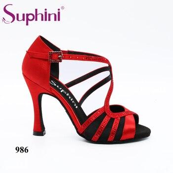 Latin Salsa Shoes Suphini Red Satin Latin Salsa Dance Shoes Open Toe Red Satin High Heel Salsa Professional Latin Dance Shoes