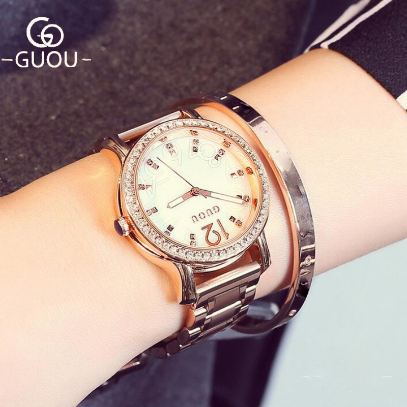 GUOU Clock Luxury Diamond Women's Rose Gold Ladies Watch Women Watches Luxury Rhinestone Watch Clock saat reloj mujer relogio guou luxury women watches roman numerals fashion ladies watch rose gold watch calendar women s watches clock saat reloj mujer