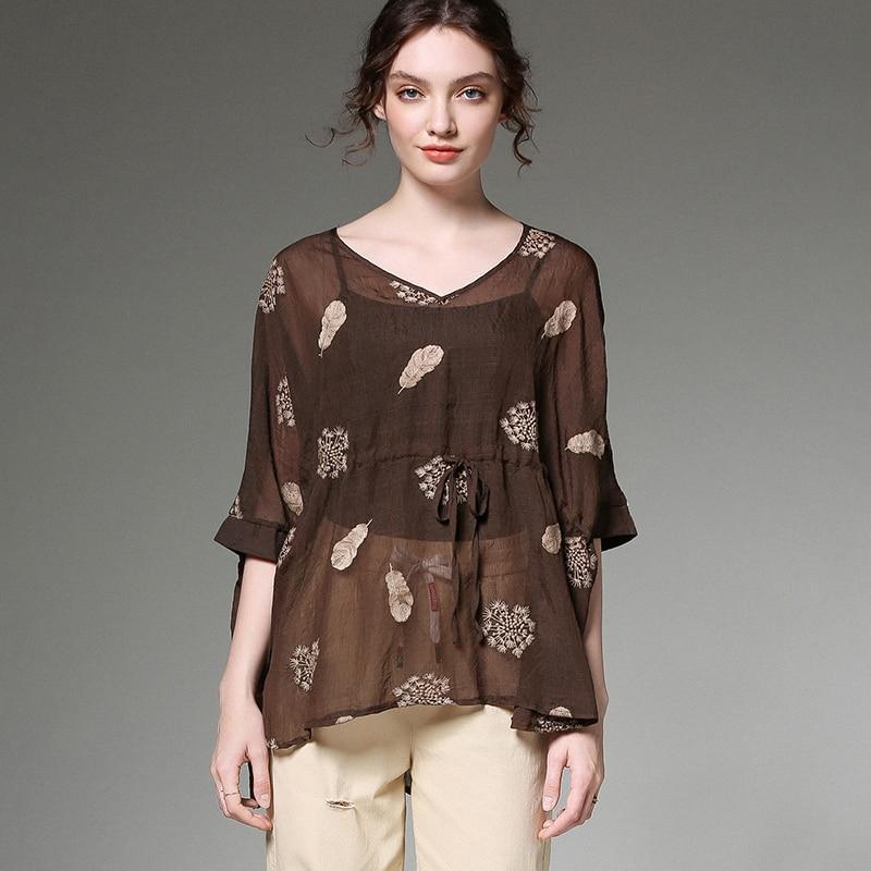 Mousseline de soie blouses grande taille broderie fleur noir été 2019 femme décontracté lâche extra large d'été blouses et dessus de chemise