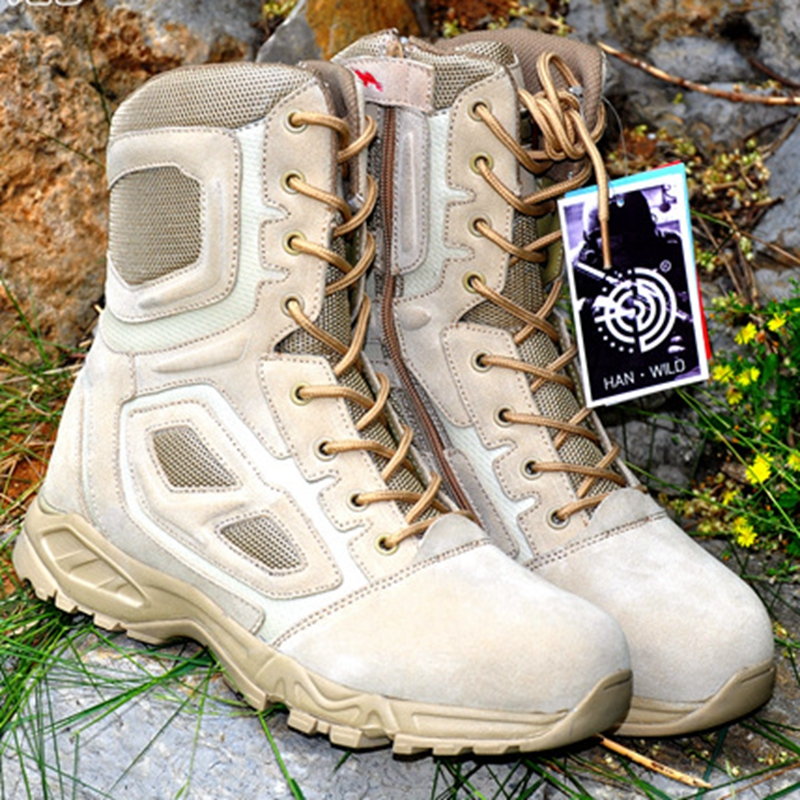 High quality Autumn Military Tactical Boots Round Toe Men Desert Combat Boots Outdoor Mens Leather Army Tactical Boots