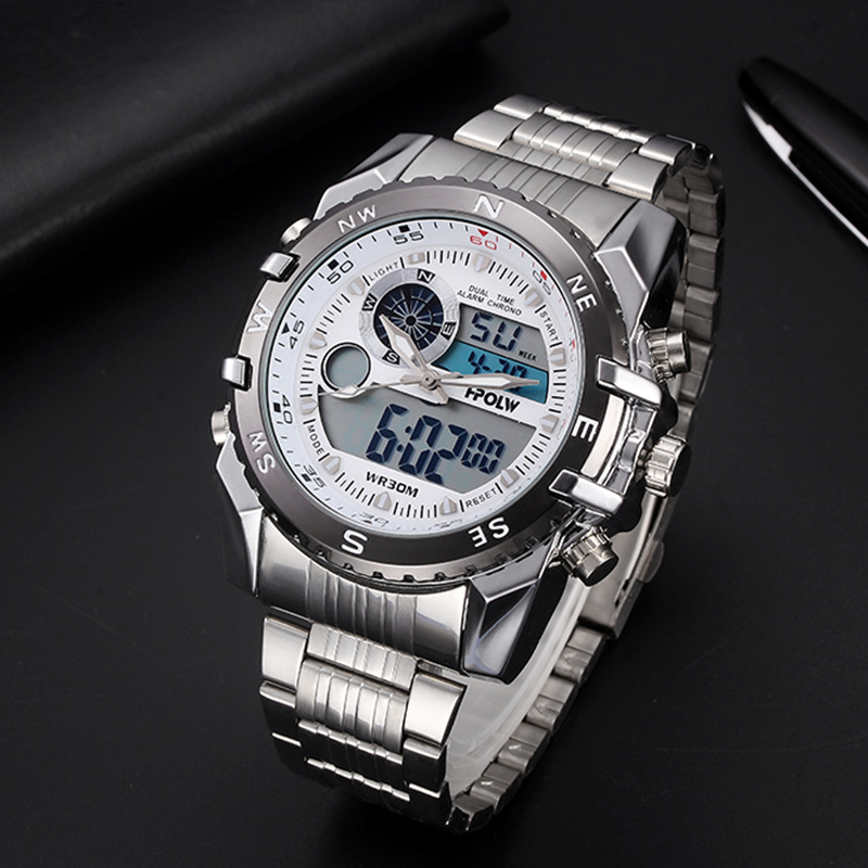 Luxury Brand HPOLW Mens Sports Watches Quartz Digital LED Military Watch Men Chronos Casual Electronics Wristwatches Relojes hpolw тяжелый серебряный