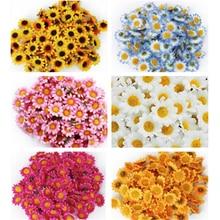 100 шт ручной работы искусственный подсолнух Сделай Сам венок Мини Цветочная головка для свадебного украшения поддельный цветок