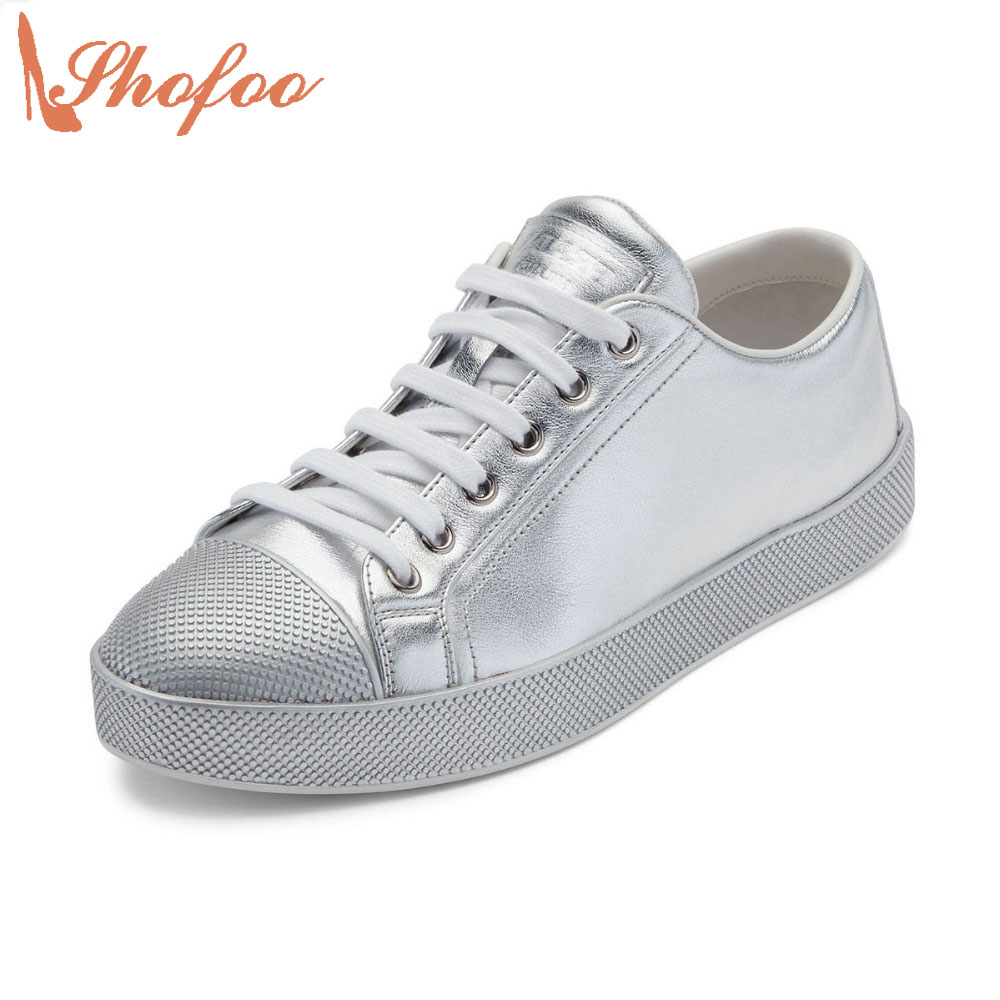 ФОТО Shofoo New Arrival 2017 Spring Fashion Shoeslaces Round Toe Flats Woman Vulcanize Silver Womens Shoes Casual Street Plus Size
