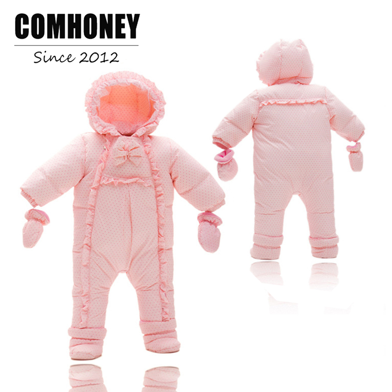 Baby Winter Rompers for Girls Princess Newborn Down Warm Jumpsuit Pink Toddler Overalls Thick Cotton Infant Outfits Bebe Clothes baby romper sets for girls newborn infant bebe clothes toddler children clothes cotton girls jumpsuit clothes suit for 3 24m