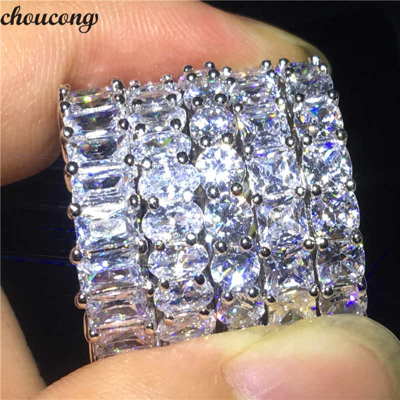 choucong Lover 5 Style Various cutting Promise Ring 5A Zircon Cz 925 Sterling Silver Engagement Wedding Band Rings for Women Men