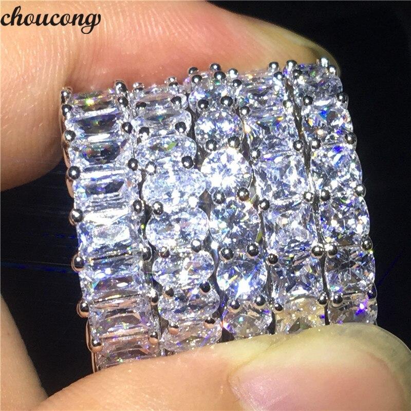 Verlobung Hochzeit Band Ringe Für Frauen Männer Schneidig Choucong Liebhaber 5 Stil Verschiedene Schneiden Versprechen Ring 5a Zirkon Cz 925 Sterling Silber