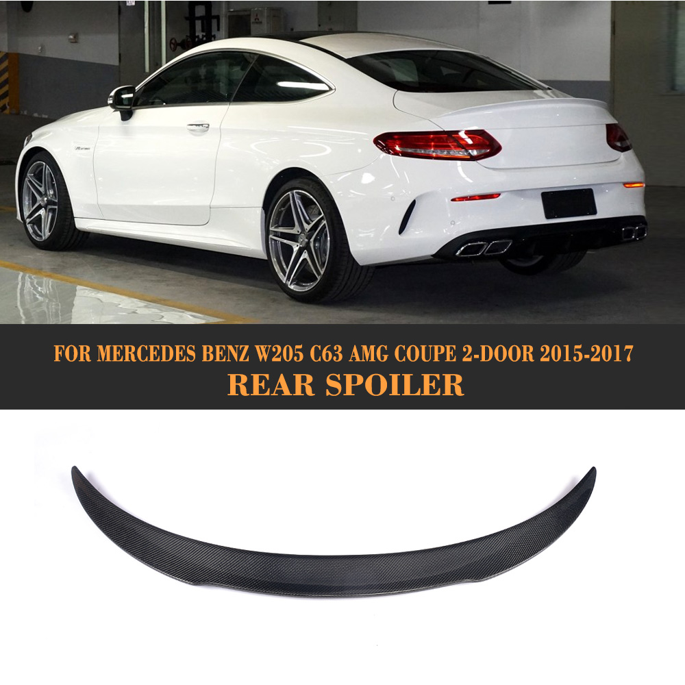 C Class Carbon Fiber Rear Trunk Spoiler Lip Wing Sticker for Mercedes Benz W205 C63 AMG Coupe 2 Door 2015-2017 F Style mercedes s class w221 2005 2013 amg style carbon fiber cf spoiler rear trunk wings tail lip for benz s320 s400 s420 s450 s600