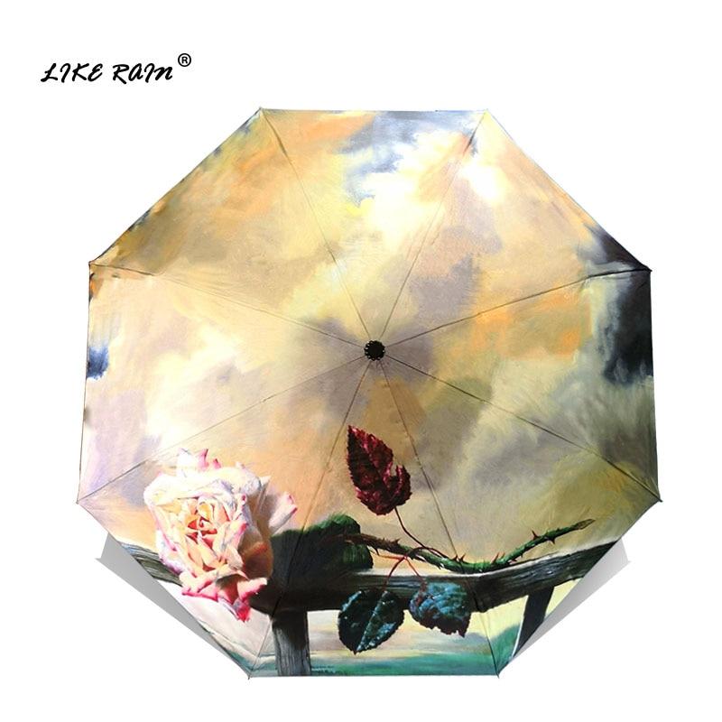 LIKE RAIN Novo romantično cvetje vrtnic dežnik dež ženske plaži senčniki kreativno slikanje olje sonce anti-UV otroški senčnik YHS07