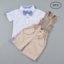 Boy Party Gentleman Suit Bib Pant+shirt Tie 2PCS Children Causal Wedding Outfit Toddler Spring Fashion Clothes