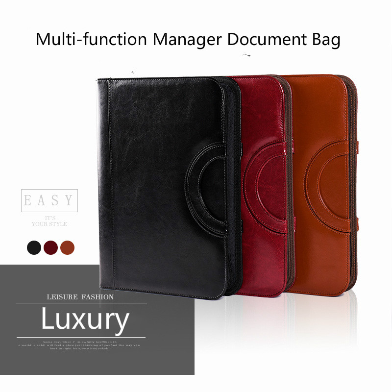 A4 Leather Clipboard Padfolio Portable Folder for Documents Document Bag with Calculator School Office Padfolio Stationery a4 5 cheap clipboard padfolio multi function filling products folder for documents school office supplies organizer portfolio