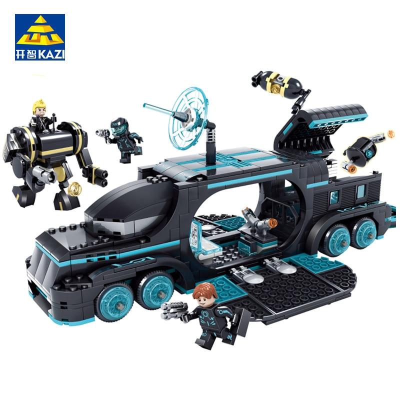 KAZI 560Pcs Future Police City War X-Agents Armor Chariot Car Model Mech Robot Toy Building Blocks Playmobil Toys for children