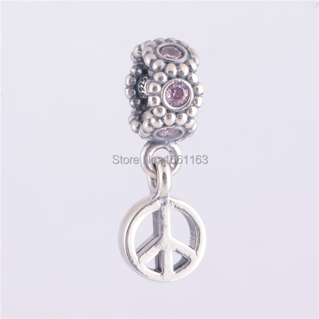 957256ebd Fits Pandora Charms Bracelet Fashion Pink Peace Sign Dangle Charm 925 Sterling  Silver European Peace Symbol Charms LW171
