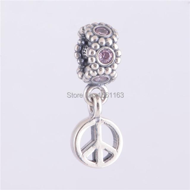 Fits Pandora Charms Bracelet Fashion Pink Peace Sign Dangle Charm