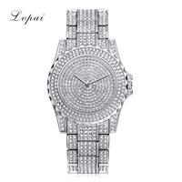 Lvpai Top Brand Silver Luxury Women Dress Watch Rhinestone Ceramic Crystal Quartz Watches Magic Women Wrist