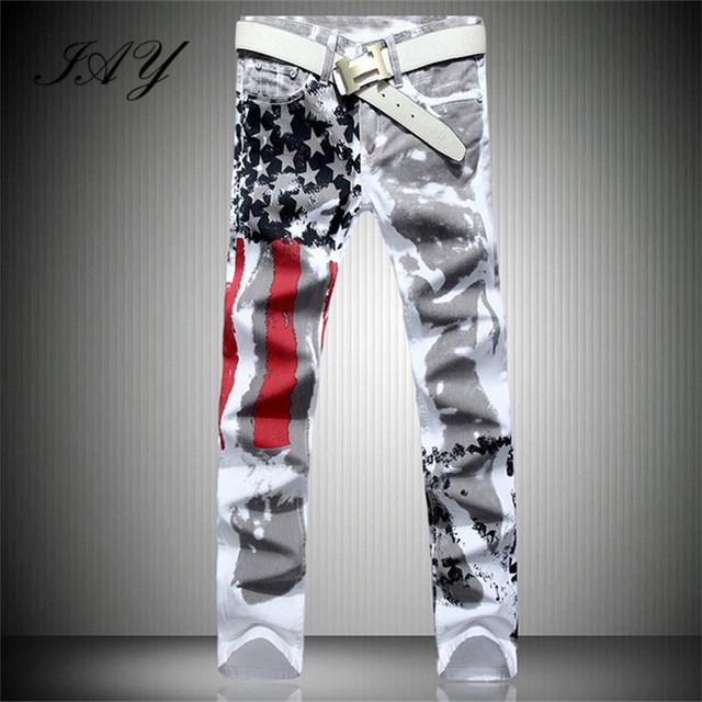 2016 primavera roupas de marca homens Casual impressão americano da bandeira dos eua calças Jeans branco Graffiti Jean Slim Fit calças Plus Size 28 - 42