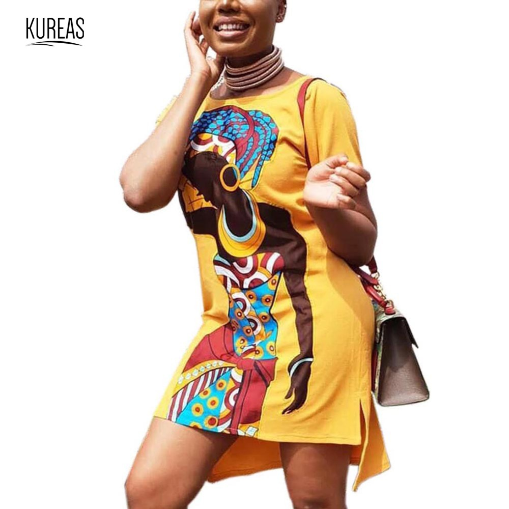Kureas African Dress Dashiki Asymmetrical Women Print Slit T Shirt Dresses Casual Short Sleeve Vestidos Africa Clothes