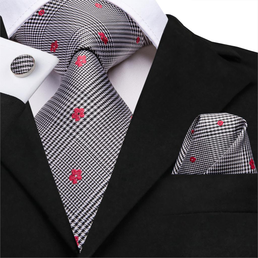 Hi-Tie New Necktie 100% Silk Mens Tie Red Floral Ties For Men White Black Stripe Wedding Business Woven Tartan Neck Ties SN-3219