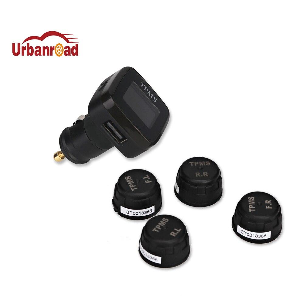Car font b TPMS b font Tire Pressure Alarm Monitoring System Cigarette lighter Digital LCD Display