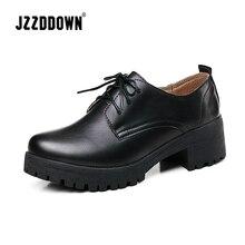 JZZDDOWN Oxford sapatos mocassins das mulheres sapatas Das Senhoras Plus Size mulheres Lace up sneakers calçados de couro genuíno das mulheres