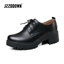 JZZDDOWN Oxford womens shoes loafers Plus Size Ladies shoes women sneakers Lace up womens genuine leather shoes footwear