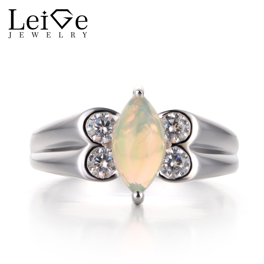 Leige Jewelry Opal Proposal Ring Natural White Opal Ring Marquise Cut White Gemstone 925 Sterling Silver October Birthstone Ring