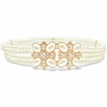 Faux Pearl Ceinture Mariage Wedding Dress Rhinestone Belt Strass Elastic Belts for Women Correas Courroie Vestido Feminino Riem