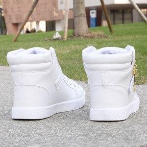 Image 5 - 2018 New White Men Boots Winter Shoes Mens Hip Hop Casual Shoes Autumn Fashion Zipper Decoration Comfortable Men High Top Shoes