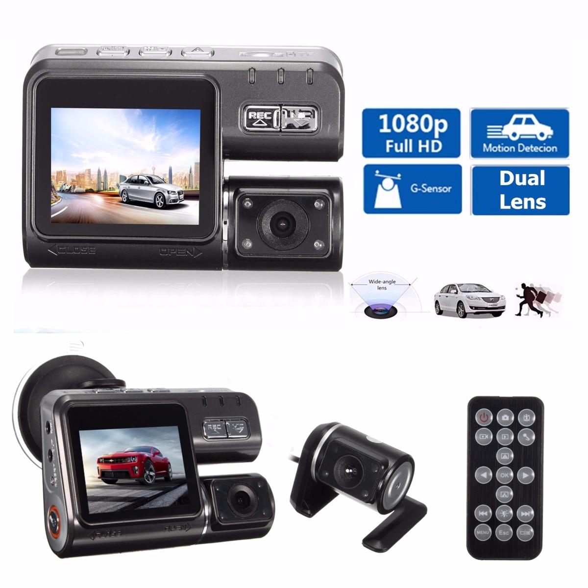 Двойная камера DVR i1000 Full HD 1080P с двумя объективами видеорегистратор 2 камеры ночного видения Автомобильный видеорегистратор видеокамера i1000s ...