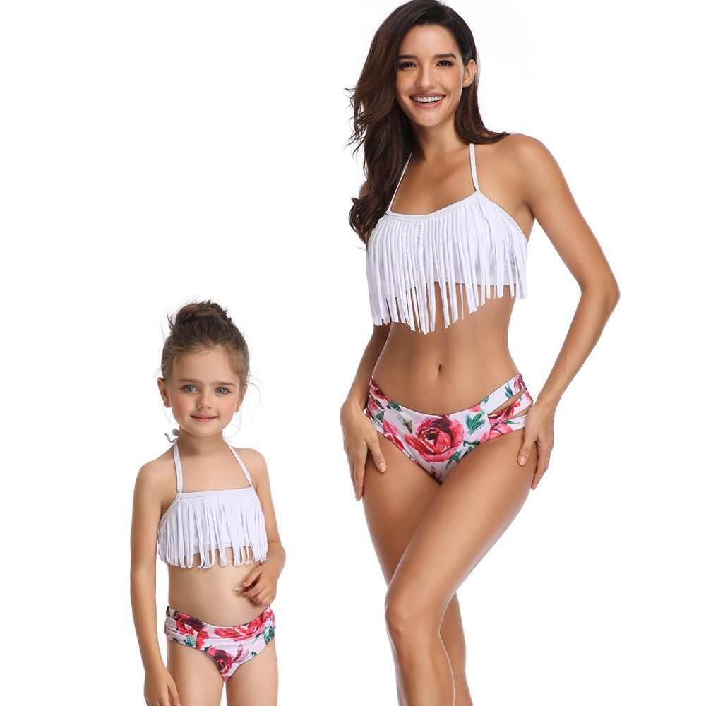 แม่ลูกสาวชุดว่ายน้ำครอบครัวดู mommy และ me เสื้อผ้าลูกสาวพู่บิกินี่ชุดว่ายน้ำเสื้อผ้าชุดจับคู่