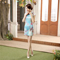 High Fashion Chinese Style Women's Sexy Mini Dress Traditional Satin Cheongsam Vintage Printed Flower Qipao S M L XL XXL LGD45