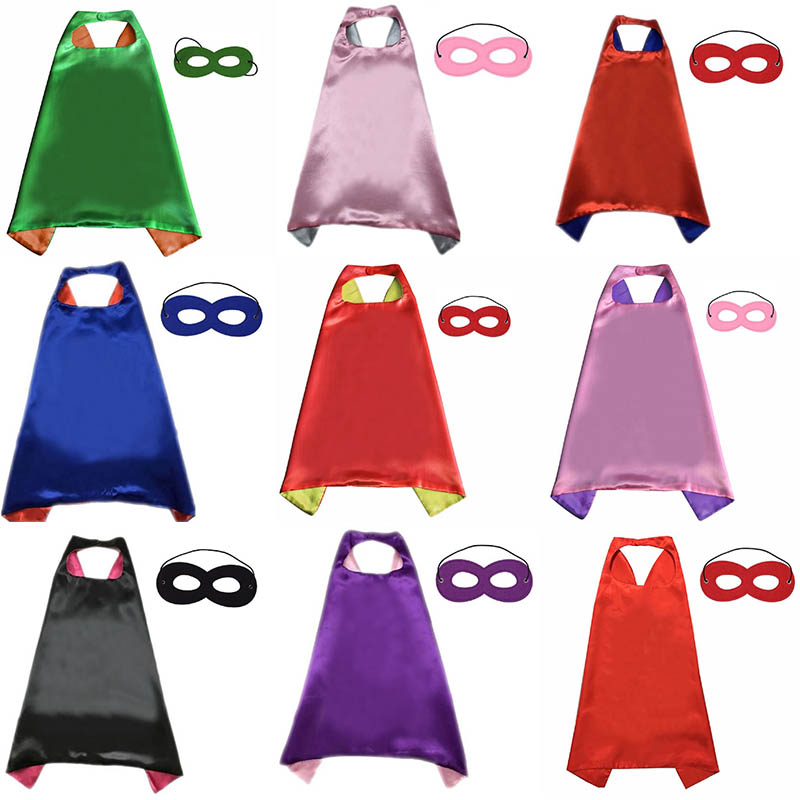 Solid Color Cloak + Mask Reversible Children's Cloak Birthday Party TeenSatin Solid Cloak Boy Girl Satin Shawl Superhero Cape